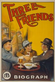 Vintage Three Friends Biograph Film Advertising Poster.
